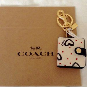 COACH Crayon Heart Script Picture Charm Key Ring